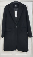 ZARA SS20 BLACK WOOL BLEND MASCULINE COAT WITH POCKETS SIZE S BNWT