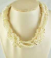 """6-Strand Faux /Round/Freshwater Pearl Bead & Goldtone Spacers Necklace 20"""""""