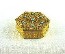 Collectable Vintage Gold Filigree Blue Beaded, Hexagon Makeup Mirror Box