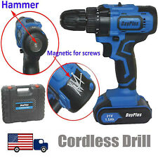 Cordless Drill Driver Combo Set 21V with Battery & Charger + 29pc Bits + Case