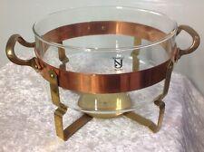 Vintage Nilsjohan Sweden Oven Proof Glass Brass Copper Open Casserole Traktor