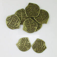 50pcs of European Spain Pirate Doubloon Toy Coins Treasure Chest for Kids