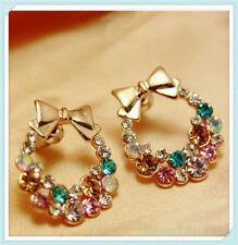 Women Gift Bowknot Crystal Earrings Elegant Ear Christmas Rhinestone Jewelly