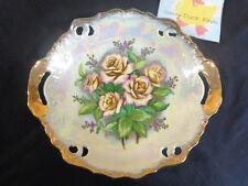 """Decorative Bowl Pink Roses Opalescent Gold Gilt 8"""" Porcelain Japan"""