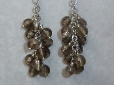 Smoky Quartz Beads, Konder #1085 Vintage Sterling Earrings, 4mm Facetted