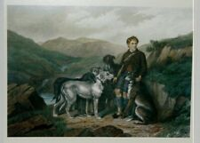 Scottish Deerhound Print, Gillie and the Hounds
