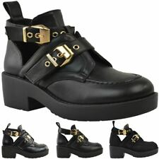 Womens Flat Cut Out Chunky Ankle Boots Black Strappy Biker Low Block Heel Size