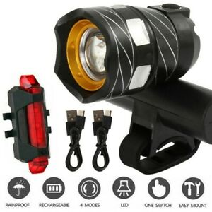USB Rechargeable T6 LED MTB Rear&Front Set 15000LM Bicycle Lights Bike Headlight