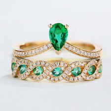 Gorgeous Women 14K Yellow Gold Filled Emerald Ring Set Engagement Jewelry Sz6-10