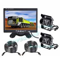 "2x IR LED Reversing Camera 4 Pin+ 7"" LCD Monitor Car Rear View Kit For Bus Truck"
