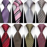Black Purple Red Grey Pink Wedding Stripe Paisley Dots Necktie Silk Men's Tie