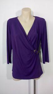 Liz Jordan Size M Purple Long Sleeve Top Blouse Stretch
