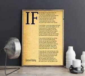 IF Poem Art Print IF Poem by Rudyard Kipling Art Signature Wall Posters/ Print