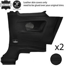 BLACK STITCH 2X REAR FULL DOOR CARD TRIM LEATHER COVERS FITS FIAT 500 07-15