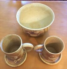 Ann Anspach Pottery 2 Coffee Cups with Saucers And A Bowl