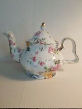 Teapot Rose Design Pattern by A Special Place 2005 Pink Yellow Roses Blue Floral