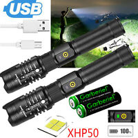 XHP50 Flashlight Zoomable 990000Lumens USB Rechargeable Torch Super Bright Light