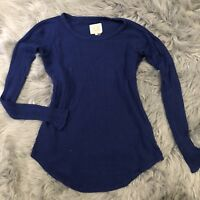 Chaser Women Blue Long Sleeve Waffle Thermal Top Shirt Size Small