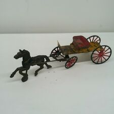 Antique Cast Iron Horse With Cart