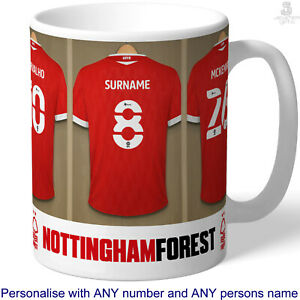 Personalised Nottingham Forest Mug, Football Cup. Shirt, Name. Fan Birthday Gift