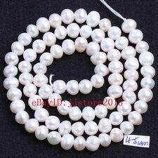 "4-5mm Natural White Freshwater Pearl Irregular Shape Gems Loose Beads Strand 15"""