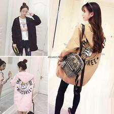Korean College Womens Winter Warm Hooded Loose Long Trench Coat Jacket Outwear