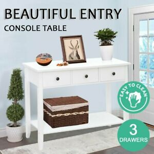 Hallway Console Table Hall Side Entry 3 Drawers Display French Desk White