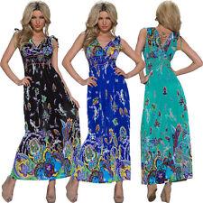 Geblümte bodenlange Damenkleider mit V-Ausschnitt aus Polyester