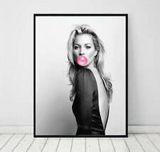 Kate Moss Bubble Gum Fashion Pop Art Print. A3 A2 A1 Sizes