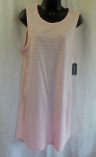Nautica Nightgown Size L NWT Pink Stripe Cotton Blend Sleeveless Scoop Neck $42