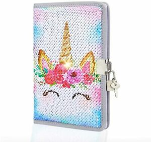 Beinou Unicorn Sequin Diary with Lock and Smiling Keys