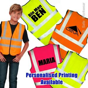 Kids Hi vis vest Personalised Text Printed for Children -Any TEXT, LOGO or IMAGE