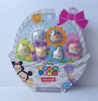 New Disney Tsum Tsum Exclusive Glitter Pastel 6 Med. Figurine Set Easter Basket