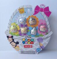 New Disney Tsum Tsum Exclusive Glitter Pastel 6 Med. Figurine Set Easter Basket