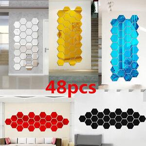 48Pcs 3D Mirror Hexagon Vinyl Removable Wall Sticker Decal Home Decor Art DIY bw