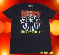 New Kiss Band 1977 World Tour Mens Black Vintage  T-Shirt
