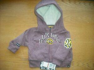 Infant Boys NWT HURLEY Full-Zip Hoodie Heather Maroon Sherpa Lined Hood 12 Mos