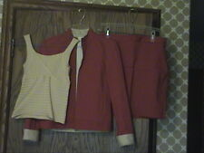 New  Frontier 3 PC Golf Outfit Set,Tan knit Top Red Skort Jacket  SZ   Small & 2