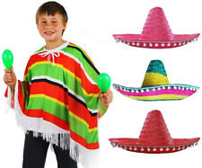 KIDS MEXICAN PONCHO AND SOMBRERO WILD WESTERN COSTUME FANCY DRESS CHILDS OUTFIT