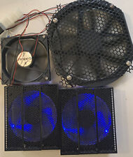 Computer Case Fan 4 Used Fan's With Cover/2 blues Light 3/6 INCHES 1/ 9 Inches