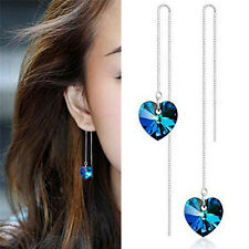 Charm Heart Dangle Earrings Vintage Blue Crystal Drop Earrings Wedding Jewelry R