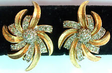 PANETTA  HAUTE COUTURE SPARKLY CRYSTAL WINDMILL CLIP EARRINGS PIERCE Estate