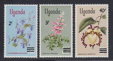 Uganda Sc 130-132 MNH. 1975 surcharged Flowers, cplt set, VF