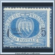 1892 San Marino Cifra 5 cent. su 10 centesimi azzurro Catalogo n. 8 Nuovo *