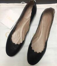 NIB Authentic Chloe 'Lauren' Black Leather Scalloped ballet flats Shoes SZ 42.5