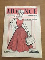 1950s vintage Advance Fashion News sewing pattern store preview Oct. 1954