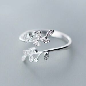 Fashion Simple Butterfly Leaf Opening Ring Women Adjustable Wedding Jewelry Gift