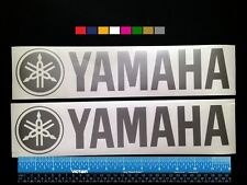 """2 (TWO)  YAMAHA  OUTBOARDS Boat Marine HQ Decals 12"""" - Silver Metallic + more"""