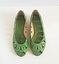 TED BAKER Women's Green Leather Shoes US 8.5 EU 40 Open Toe Wedge Heels
