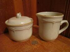 International Endura Cafe Stoneware Japan Brown Speckled Sugar Bowl Creamer Set